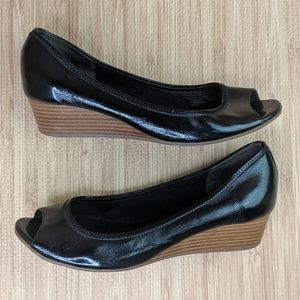 Cole Haan Nike Air Sole Black Wedge Open Toe Heels